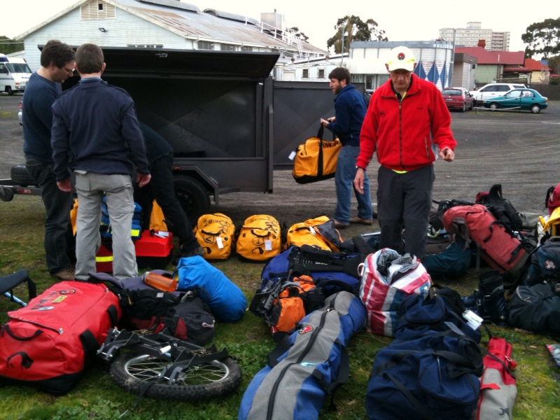 Loading gear in the trailer. Note wheel for stretcher and kit bags with steep snow and ice equipment.