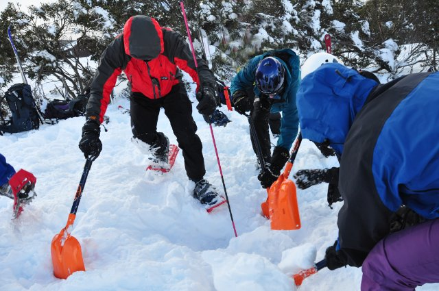 Digging out an avalanche victim during BSAR training