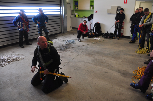 Demonstrating personal rope and tool technique