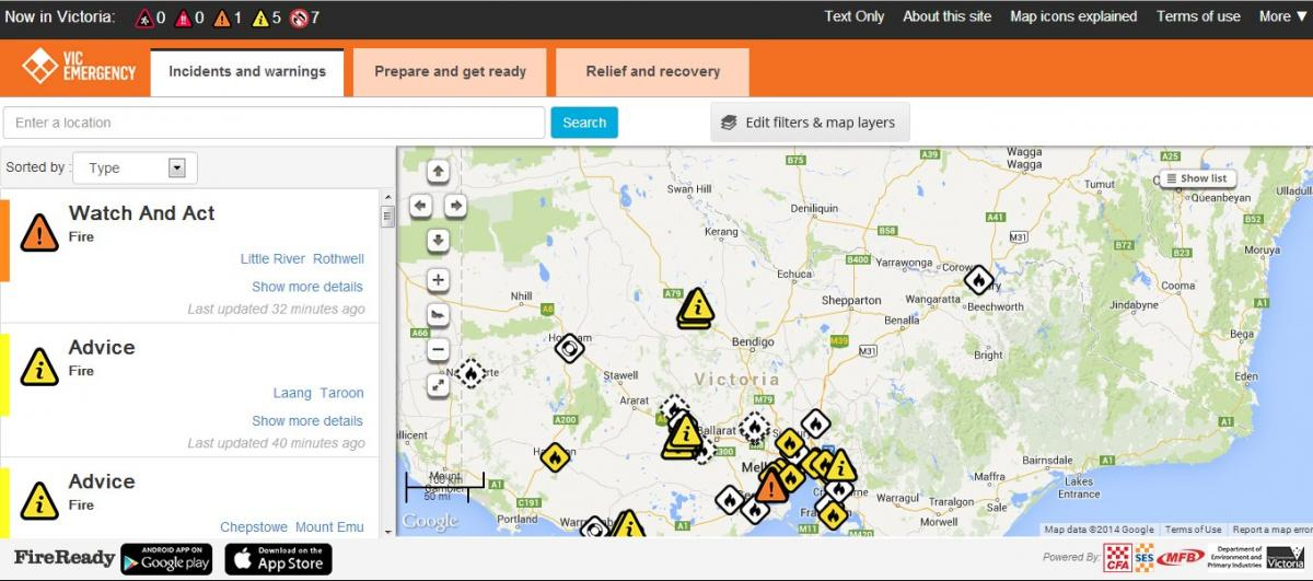 VicEmergency website for Victorian emergency information