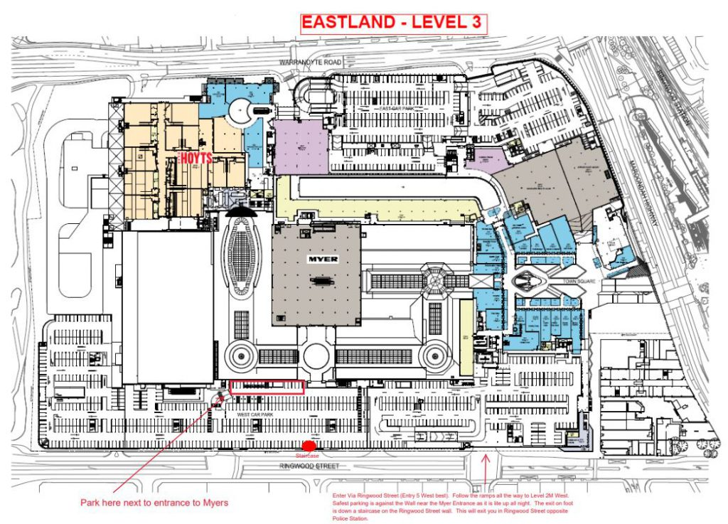 Eastland parking map