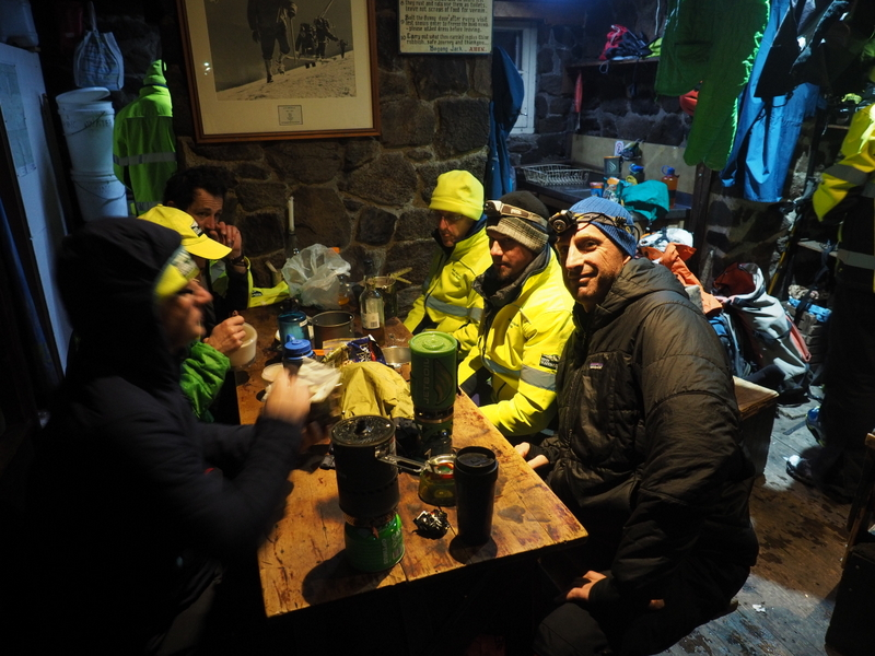 2017 Bogong search - dinner in Cleve Cole hut